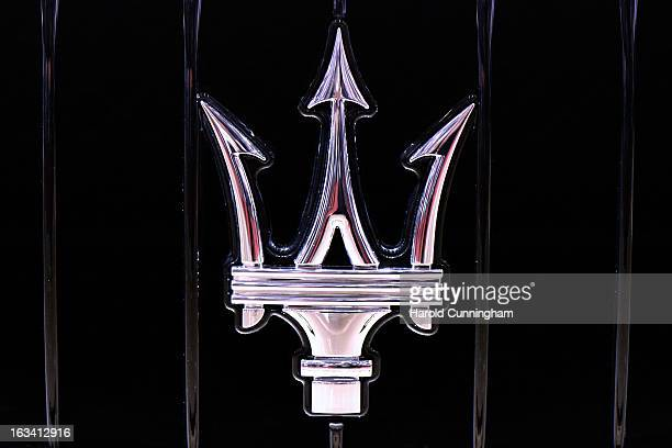 Maserati logo is seen during the 83rd Geneva Motor Show on March 5 2013 in Geneva Switzerland Held annually with more than 130 product premiers from...