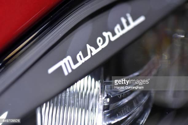 Maserati logo is seen during the 87th Geneva International Motor Show on March 8 2017 in Geneva Switzerland The International Motor Show showcase...
