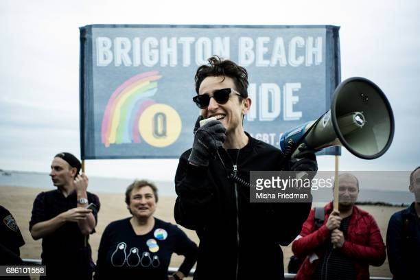 Masha Gessen a RussianAMerican writer and activist speaks to participants of the Russianspeaking LGBT Pride March on Brighton Beach boardwalk on May...