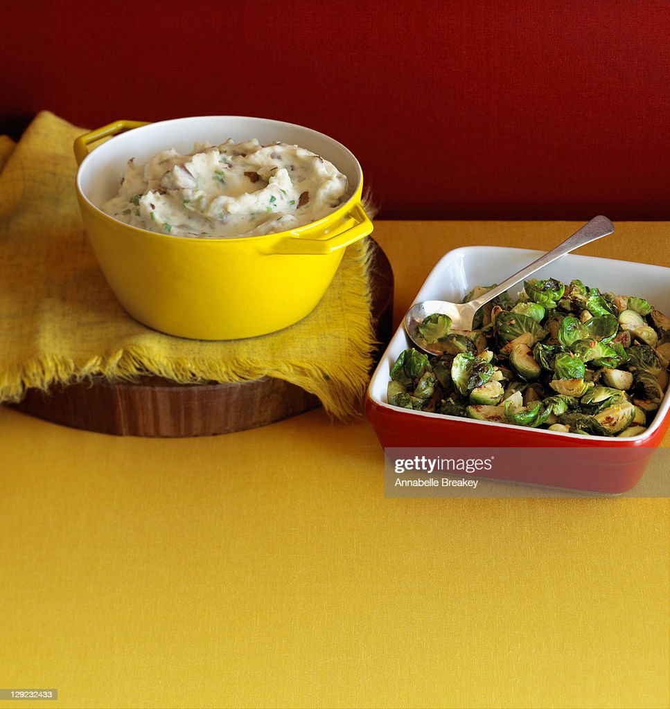 Mashed potatoes and brussels sprouts side dishes : Stock Photo