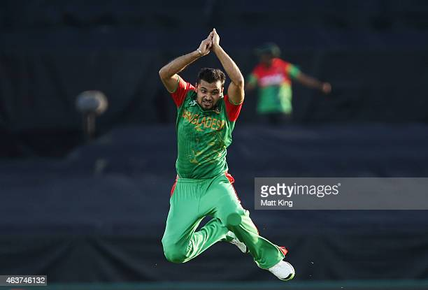 Mashrafe Bin Mortaza of Bangladesh celebrates taking the wicket of Ashar Stanekzai of Afghanistan during the 2015 ICC Cricket World Cup match between...