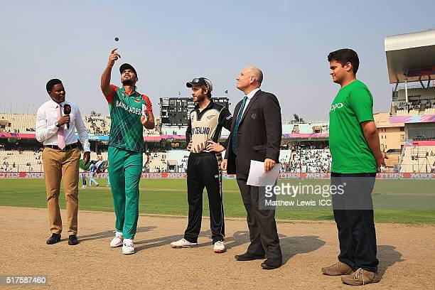 Mashrafe Mortaza Captain of Bangladesh and Kane Williamson Captain of New Zealand pictured during the coin toss ahead of the ICC World Twenty20 India...