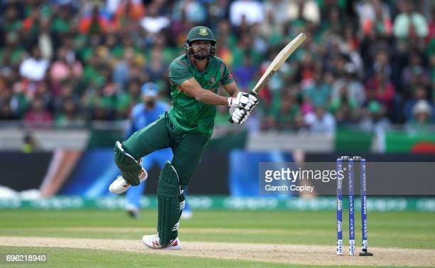 Mashrafe Mortaza of Bangladesh bats during the ICC Champions Trophy Semi Final between Bangladesh and India at Edgbaston on June 15 2017 in...