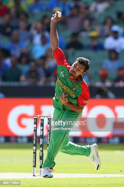 Mashrafe Mortaza of Bangladesh bowls during the 2015 ICC Cricket World Cup match between India and Bangldesh at Melbourne Cricket Ground on March 19...