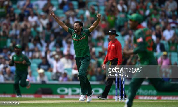Mashrafe Mortaza of Bangladesh celebrates dismissing Jason Roy of England during the ICC Champions Trophy group match between England and Bangladesh...