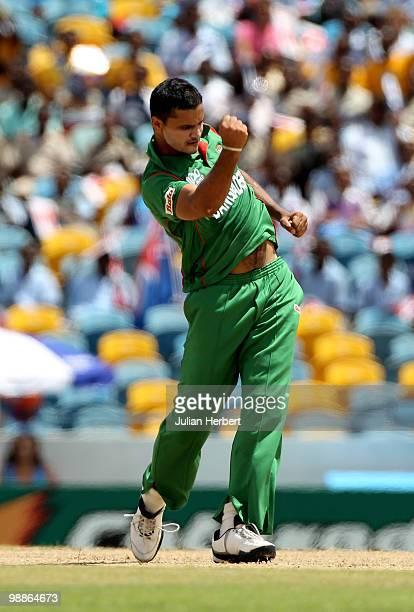 Mashrafe Mortaza of Bangladesh celebrates the wicket of Shane Watson out during The ICC World Twenty20 Group A Match between Bangladesh and Australia...