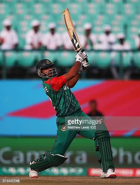 Mashrafe Mortaza of Bangladesh hits a six during the ICC Twenty20 World Cup match between Bangladesh and Netherlands at HPCA Stadium on March 9 2016...