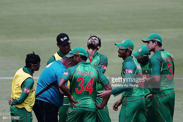 Mashrafe Mortaza of Bangladesh shows pain with an injury to his hand during the third Twenty20 International match between New Zealand and Bangladesh...