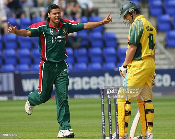 Mashrafee Bin Mortaza of Bangladesh celebrates the wicket of Adam Gilchrist of Australia during the NatWest Series One Day International between...