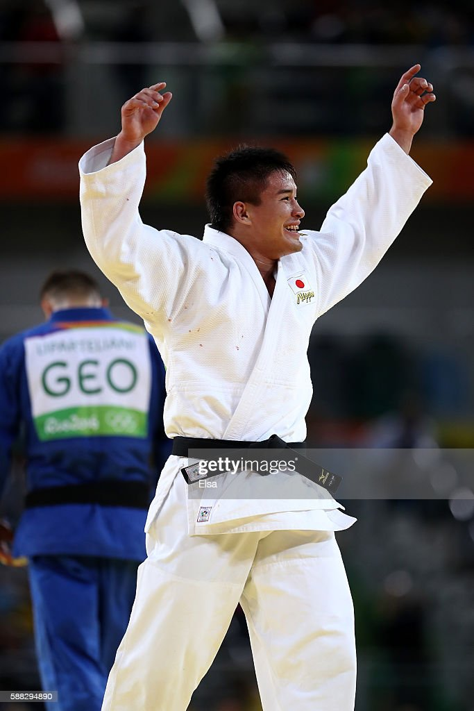 Mashu Baker of Japan celebrates after defeating Varlam Liparteliani of Georgia in the Men's -90kg Gold Medal bout on Day 5 of the Rio 2016 Olympic Games at Carioca Arena 2 on August 10, 2016 in Rio de Janeiro, Brazil.