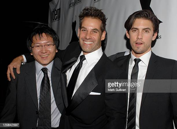 Masi Oka Adrian Pasdar and Milo Ventimiglia during Little Black Dress Celebrates 5th Anniversary at Fleur de Lys in Bel Air California United States