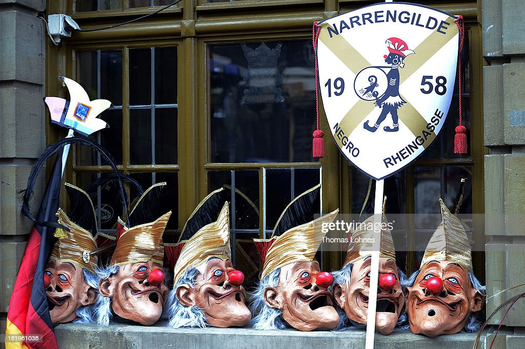 Mask are seen outside a restaurant as performers take a rest from the Basel Fasnacht Carnival on February 18, 2013 in Basel, Switzerland. More than 12,000 participants will take part in the largest carnival in Switzerland that lasts for 72 hours and will be watched by more than 100,000 spectators as it makes its way through the city center.