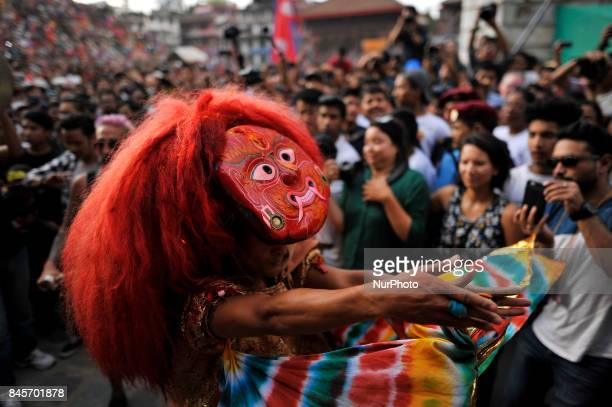 A mask dancer 'Lakhay' dancing in the traditional ritual tunes of drums on the last day of Indra Jatra Festival celebrated in Basantapur Durbar...
