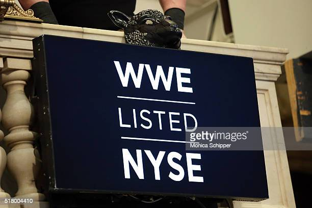 Mask detail as WWE professional wrestlers Erick Rowan Bray Wyatt and Braun Strowman attend WWE WrestleMania Stars Ring The NYSE Opening Bell at New...