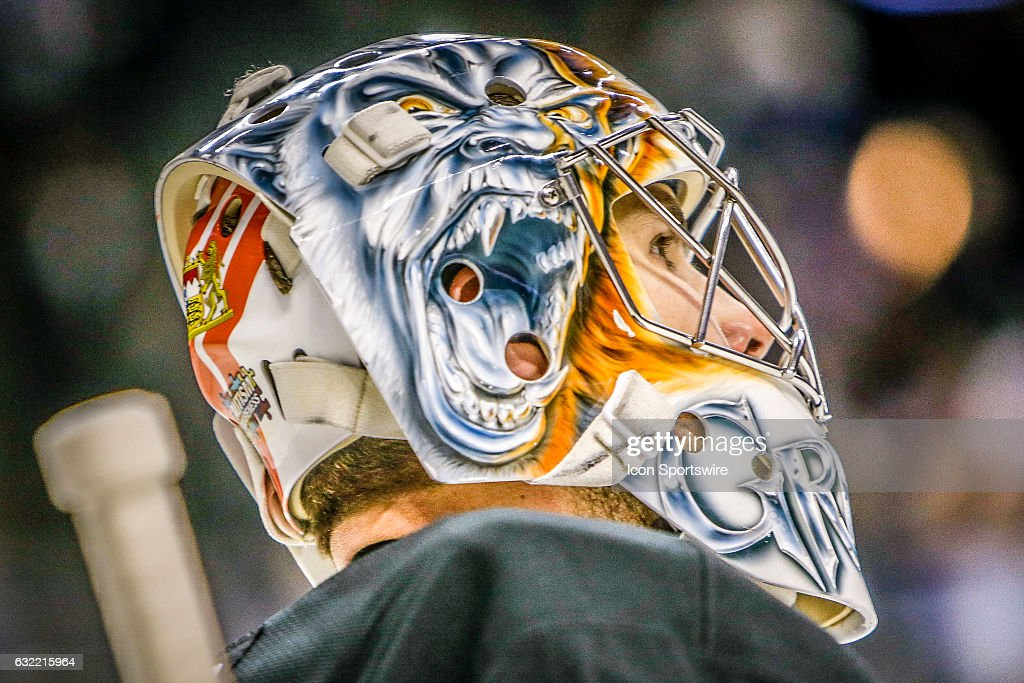 Mask detail of New York Islanders Goalie Thomas Greiss (1) during the Dallas Stars and New York Islanders NHL game on January 19, 2017, at Barclays Center in Brooklyn, NY.