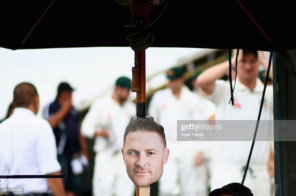 A mask of Brendon McCullum of New Zealand is seen outside the change rooms during day four of the Test match between New Zealand and Australia at Basin Reserve on February 15, 2016 in Wellington, New Zealand.