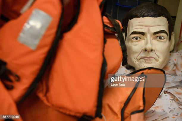 A mask of former Chancellor of the Exchequer George Osborne is seen among other props in the store room at Oxfam's headquarters on October 4 2017 in...