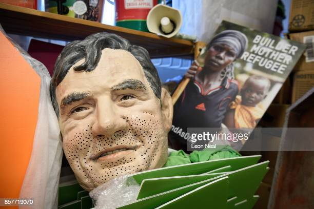 A mask of former Prime Minister Gordon Brown is seen among other props in the store room at Oxfam's headquarters on October 4 2017 in London England...