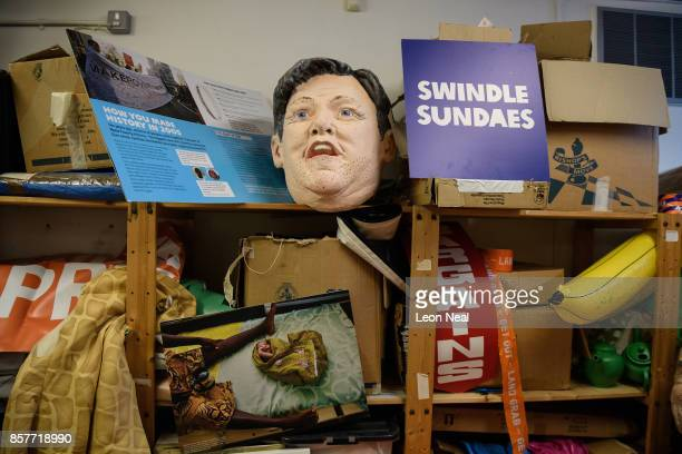 A mask of former Shadow Chancellor of the Exchequer Ed Balls is seen among other props in the store room at Oxfam's headquarters on October 4 2017 in...