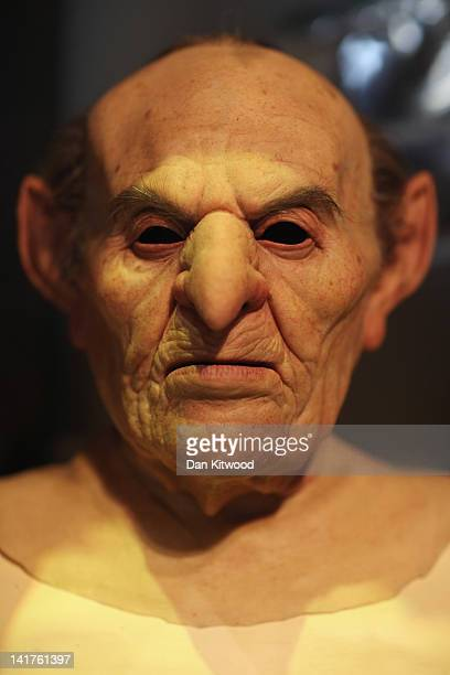 A mask worn by an actor who played a goblin at Gringotts Bank in the Harry Potter Films is displayed at the new Harry Potter Studio Tour at Warner...