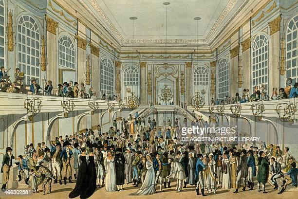 Masked ball in the ballroom of Hofburg Palace in Vienna watercolour by J Schutz