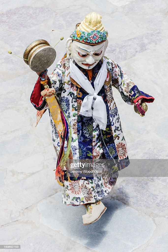 Masked character at the buddhist Hemis Festival : Stock Photo