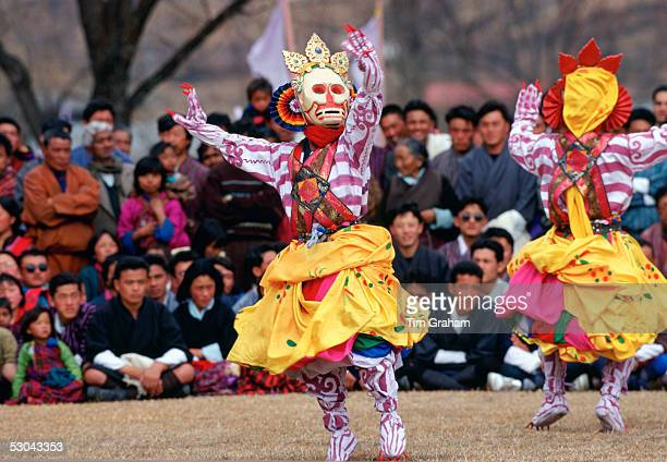 Masked dancers of the Royal Troupe perform Skeleton Dance Paro Bhutan