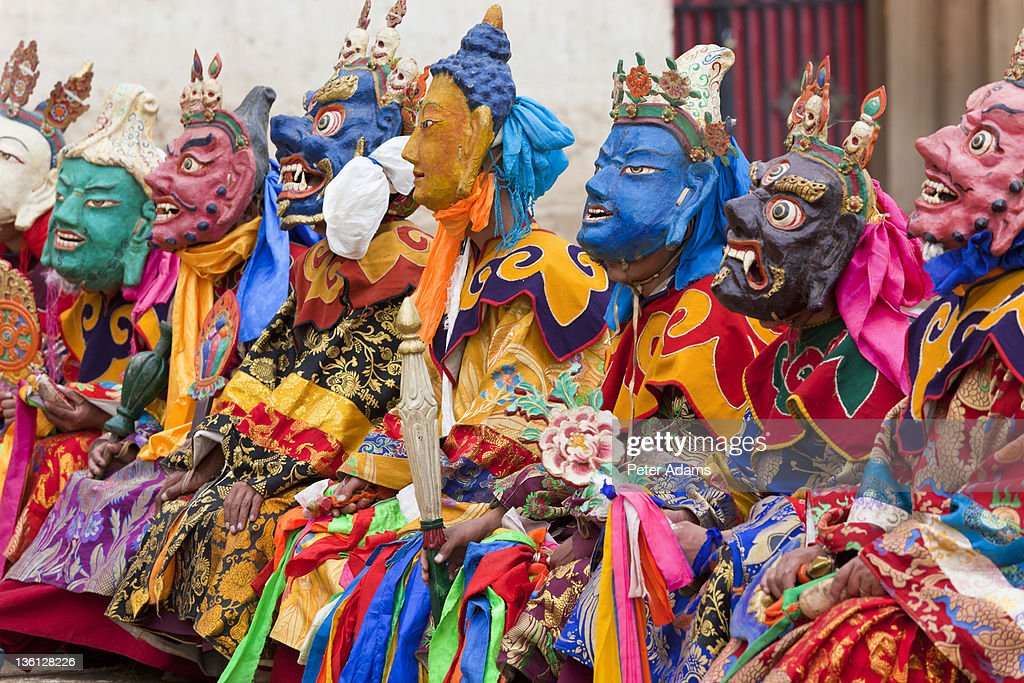Masked Dancers, Wachuk Tibetan Buddhist Monastery : Stock Photo