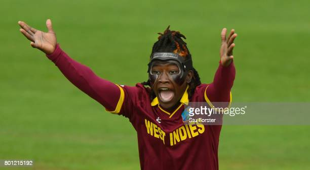 A masked Deandra Dottin of the West Indies appeals for a wicket during the ICC Women's World Cup 2017 match between Australia and West Indies at The...