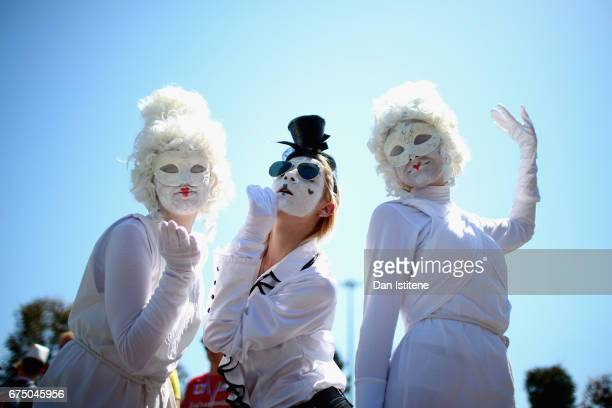 Masked fans at the circuit during the Formula One Grand Prix of Russia on April 30 2017 in Sochi Russia