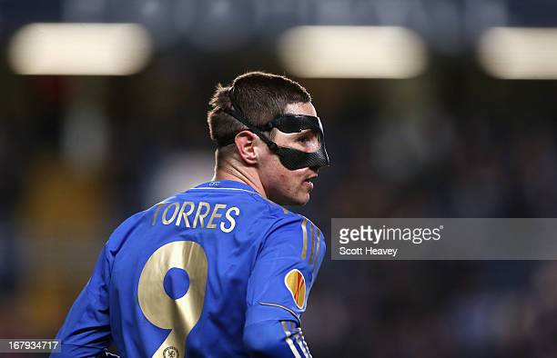 A masked Fernando Torres of Chelsea looks on during the UEFA Europa League semifinal second leg match between Chelsea and FC Basel 1893 at Stamford...