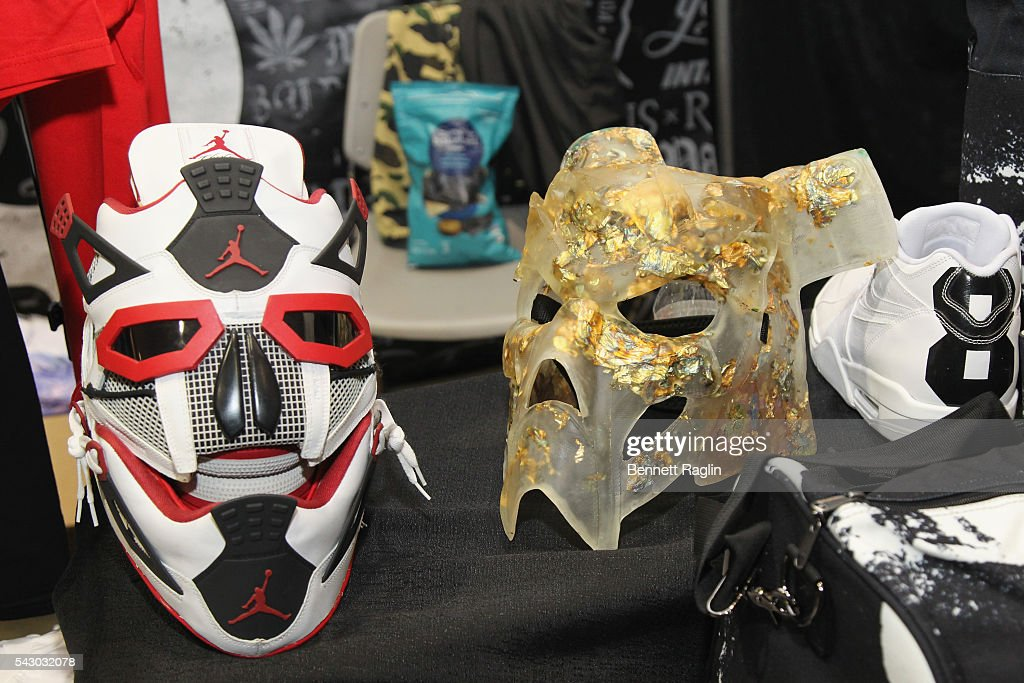 Masks are displayed during SneakerCon presented by Sprite, Rush Card, & FDA during the 2016 BET Experience at Los Angeles Convention Center on June 25, 2016 in Los Angeles, California.