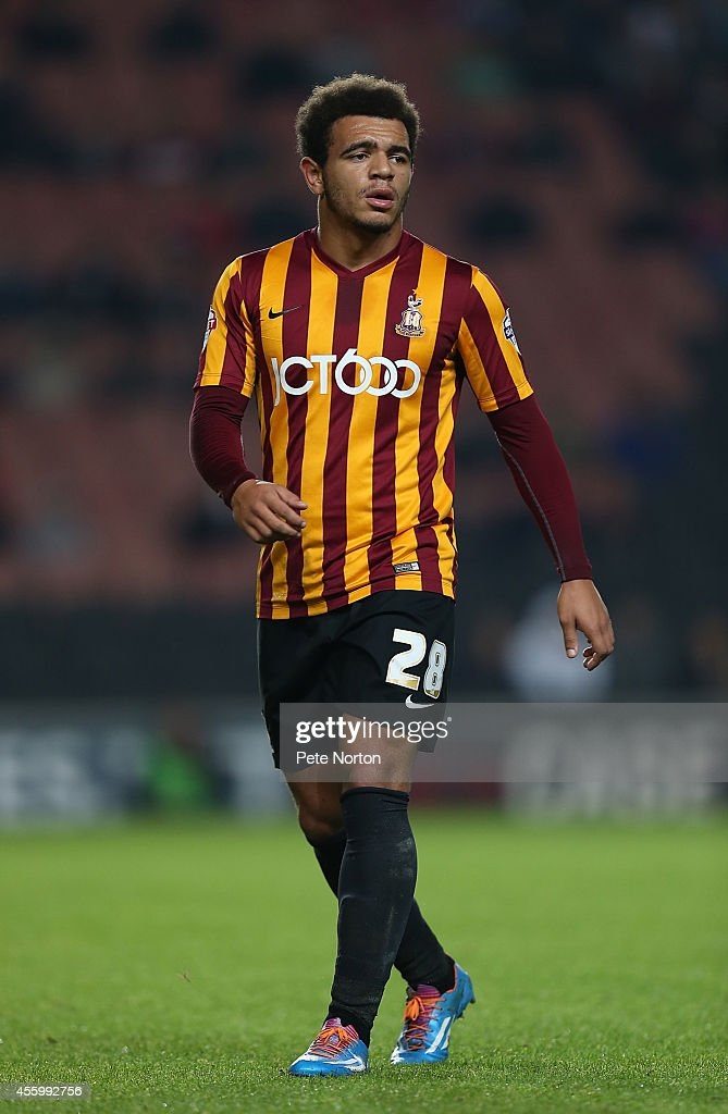Mason Bennett of Bradford City in action during the Capital One Cup Third Round match between MK Dons and Bradford City at Stadium mk on September 23, 2014 in Milton Keynes, England.
