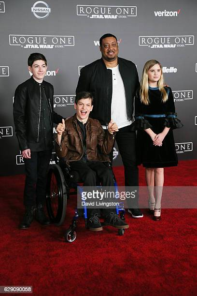 Mason Cook Micah Fowler Cedric Yarbrough and Kyla Kenedy arrive at the premiere of Walt Disney Pictures and Lucasfilm's 'Rogue One A Star Wars Story'...