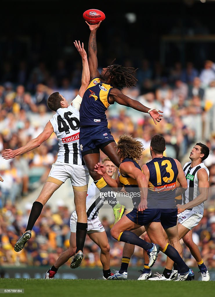 Mason Cox of the Magpies and Nic Naitanui of the Eagles contest the ruck during the round six AFL match between the West Coast Eagles and the Collingwood Magpies at Domain Stadium on May 1, 2016 in Perth, Australia.