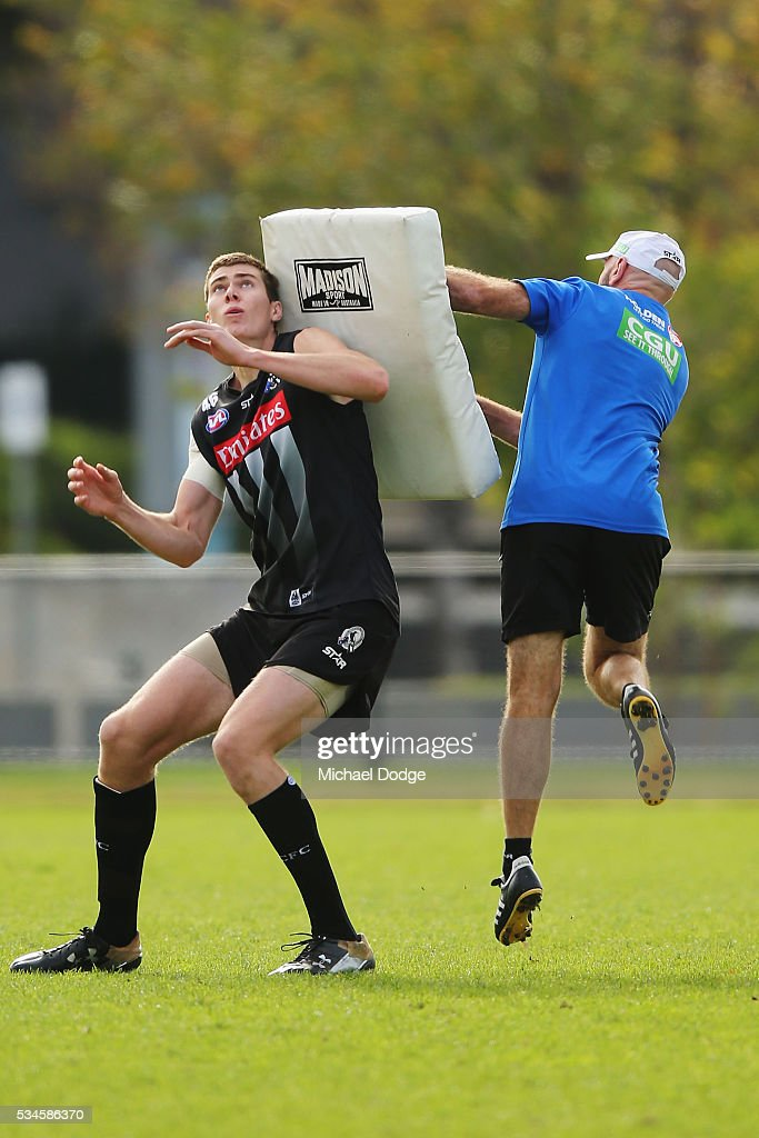 Mason Cox of the Magpies competes for the ball during a Collingwood Magpies AFL training session on May 27, 2016 in Melbourne, Australia.