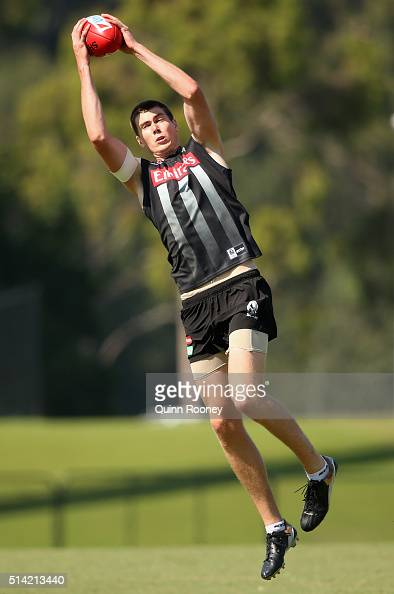 Mason Cox of the Magpies marks during a Collingwood Magpies AFL training session at Olympic Park on March 8 2016 in Melbourne Australia