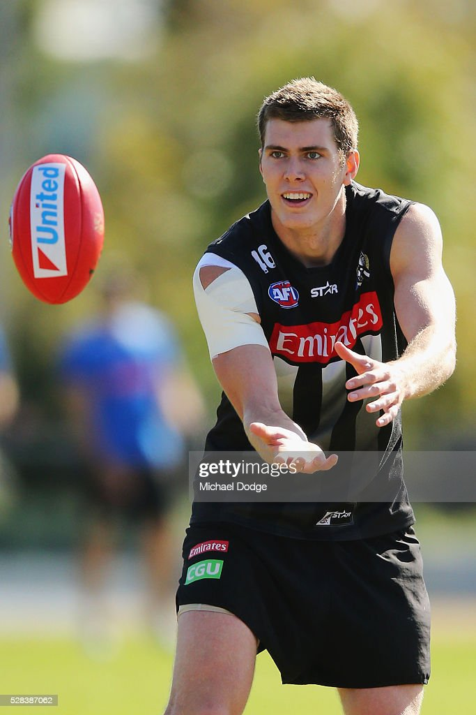Mason Cox of the Magpies marks the ball during a Collingwood Magpies AFL training session on May 5, 2016 in Melbourne, Australia.
