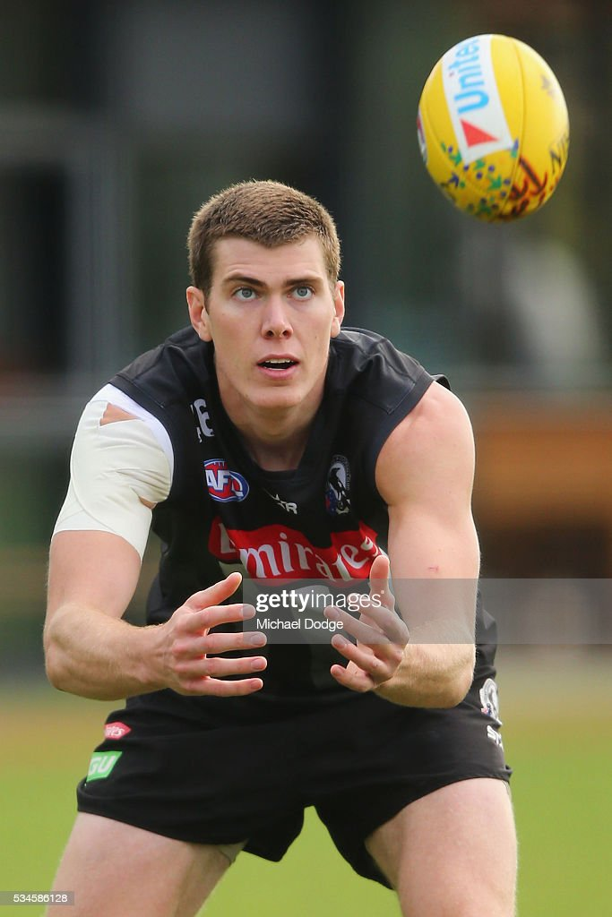 Mason Cox of the Magpies marks the ball during a Collingwood Magpies AFL training session on May 27, 2016 in Melbourne, Australia.