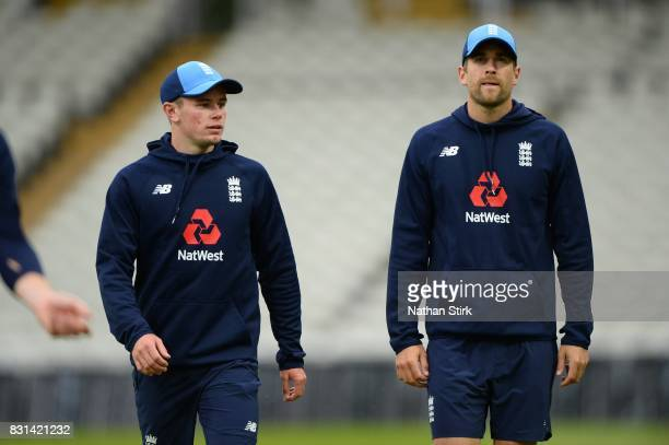 Mason Crane and Dawid Malan of England look on during the England Net Session at Edgbaston on August 14 2017 in Birmingham England