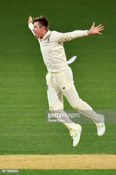 Mason Crane of England appeals unsuccessfully during day two of the Four Day Tour match between the Cricket Australia XI and England at Adelaide Oval...