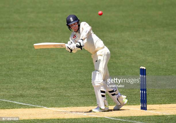 Mason Crane of England bats during day two of the Four Day Tour match between the Cricket Australia XI and England at Adelaide Oval on November 9...