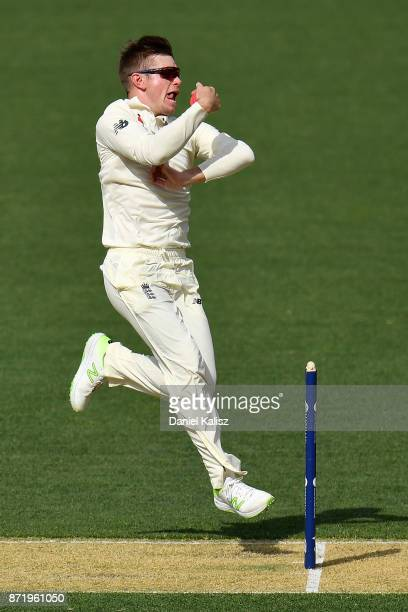 Mason Crane of England bowls during day two of the Four Day Tour match between the Cricket Australia XI and England at Adelaide Oval on November 9...