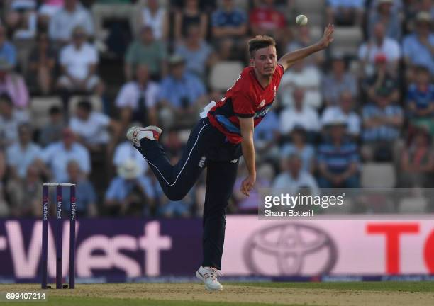 Mason Crane of England bowls during the 1st NatWest T20 International match between England and South Africa at Ageas Bowl on June 21 2017 in...