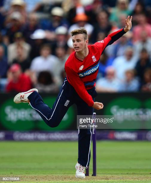 Mason Crane of England bowls during the 3rd NatWest T20 International between England and South Africa at the SWALEC Stadium on June 25 2017 in...