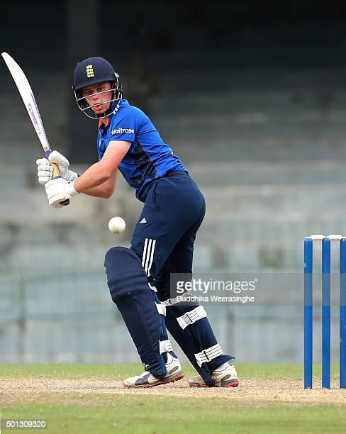 Mason Crane of England hits the ball during the Under 19 International Triseries match between England U19 and Sri Lankas U19 at the R Premadasa...