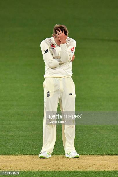 Mason Crane of England reacts during day two of the Four Day Tour match between the Cricket Australia XI and England at Adelaide Oval on November 9...