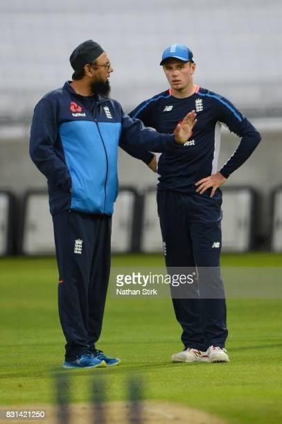 Mason Crane of England talks to spin coach Saqlain Mushtaq during the England Net Session at Edgbaston on August 14 2017 in Birmingham England