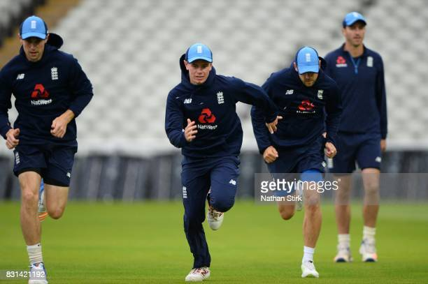 Mason Crane of England warms up during the England Net Session at Edgbaston on August 14 2017 in Birmingham England