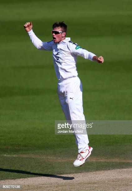 Mason Crane of Hampshire appeals unsuccessfully during day three of the Specsavers County Championship Division One match between Surrey and...